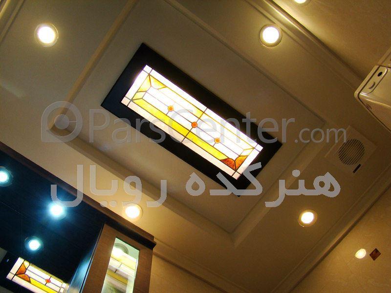 سقف شیشه ای کاذب در آشپزخانه و دریچه بازدید در سقف سرویس بهداشتی در پروژه اختیاریه شمالی