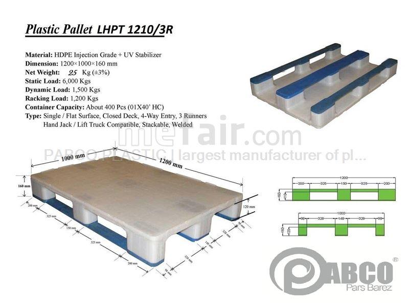 - Plastic pallets Pabco - LHPT1210-3R 1000×1200×170 mm
