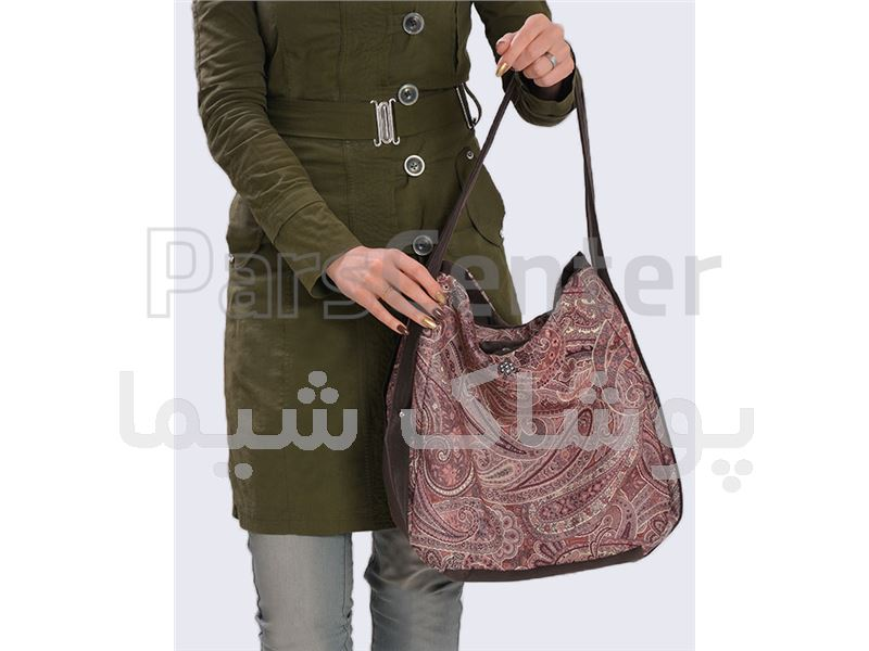 کیف پارچه ای طرح ترنج قهوه ای پوشاک شیما