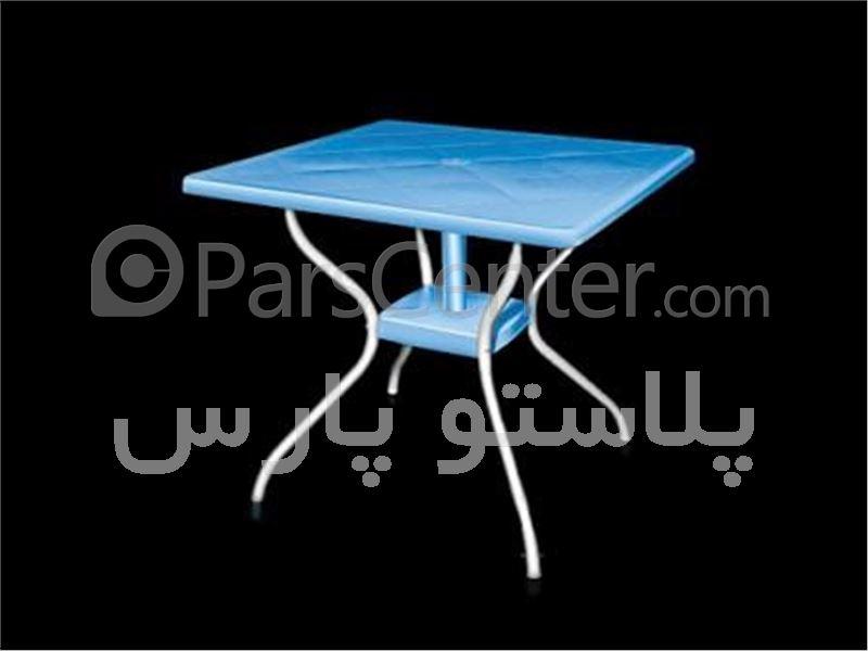 میز فایبرگلاس مربع پایه فلزی 4 نفره 80*80 کد 101923