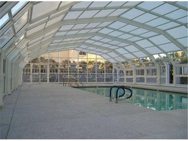 پوشش سقف استخر متحرک مدل قوسی