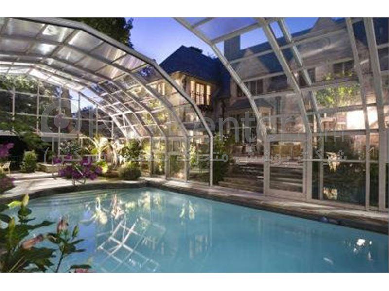 پوشش سقف استخر با فریم آلومینیومی
