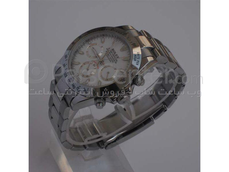 ساعت رولکس high copyمدل  DAYTONA- شیشه ضد خش --بند استیل- رنگ صفحه سفید-رنگ بند  طلایی- ایندکس خطی