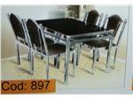 میز نهار خوری استیل 4 نفره با صندلی استیل مدل بالکان