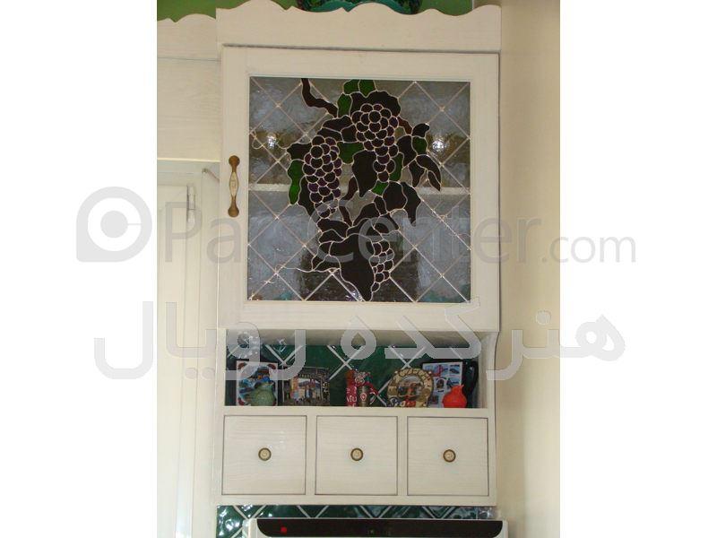 شیشه تزئینی درب چوبی کابینت آشپزخانه ، پروژه شهرک غرب
