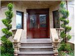 شیشه تزئینی و درب ورودی چوبی لابی ، پروژه جمشیدیه