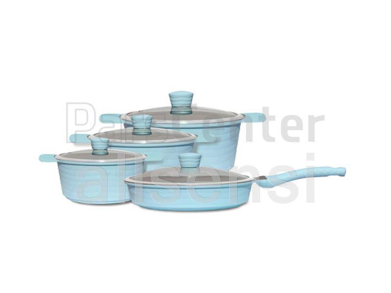 سرویس قابلمه سرامیکی رنگی 12 پارچه مدل ویو آبی
