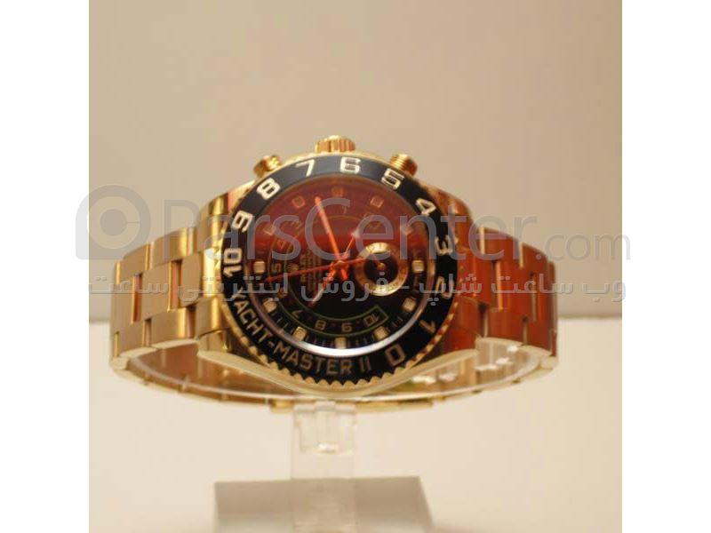 ساعت رولکس high copy مدل  YATCHMASTER- شیشه ضد خش -بند استیل طلایی- صفحه مشکی-ایندکس خطی-رنگ بند طلایی-