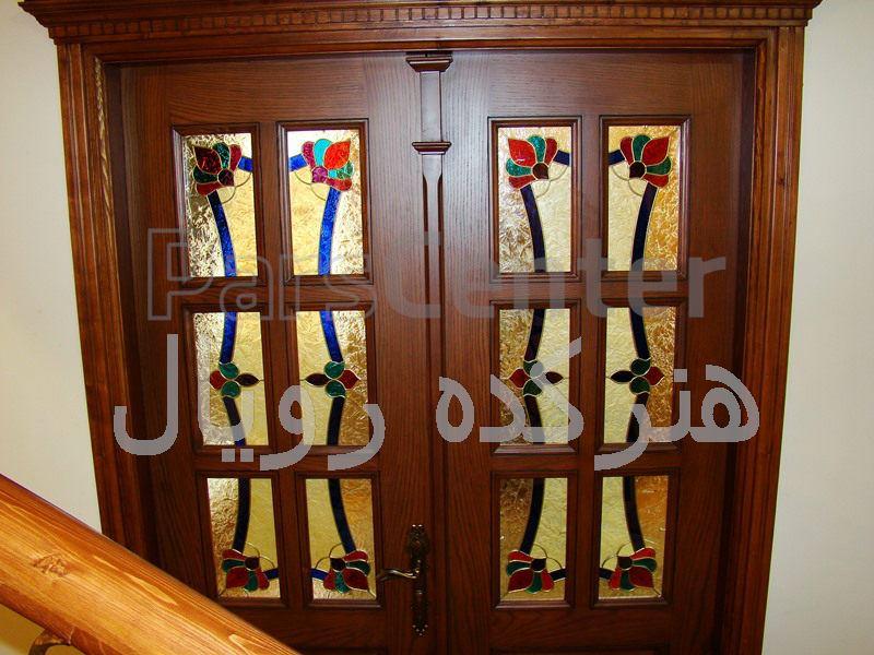 شیشه تزیینی تیفانی درب چوبی اتاق خواب پروژه رشت ، بلوار دیلمان