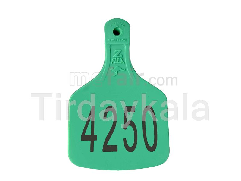 Laser printed cow ear tag Green