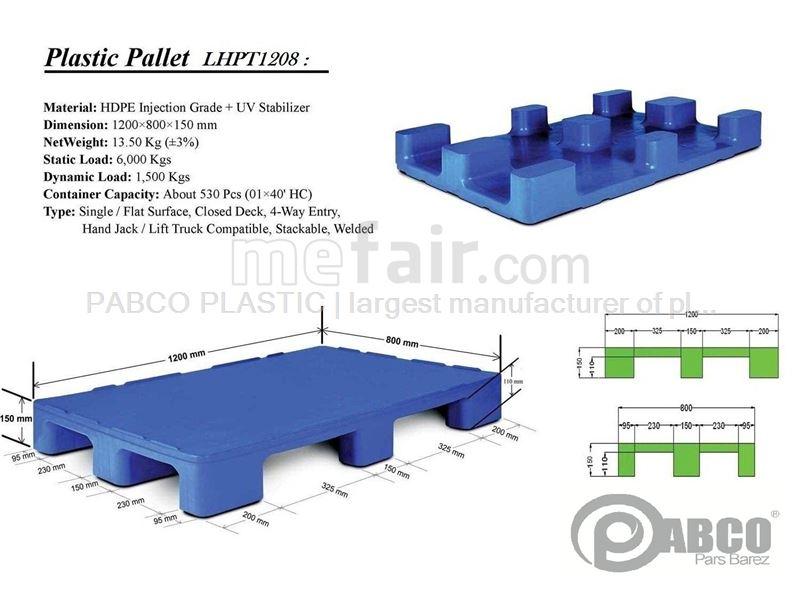 - Plastic pallets Pabco - LHPT1208 800×1200×170 mm