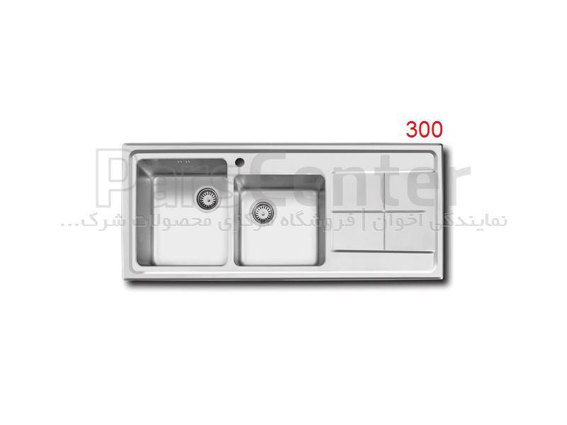 سینک ظرفشویی توکار اخوان باکسی دو لگن مدل 300