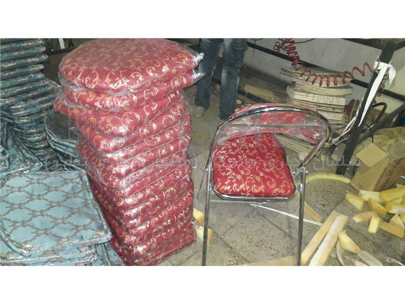 صندلی تاشو فلزی مدل vip تاج دار با پارچه شانل ترک