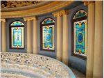 شیشه تزیینی و دکوراتیو تیفانی ( استیندگلس )با طراحی و رنگ آمیزی کلیسایی برای پنجره های نورگیر گنبد در پنت هاوس سوپر لوکس رمارزیدنس Roma Residence