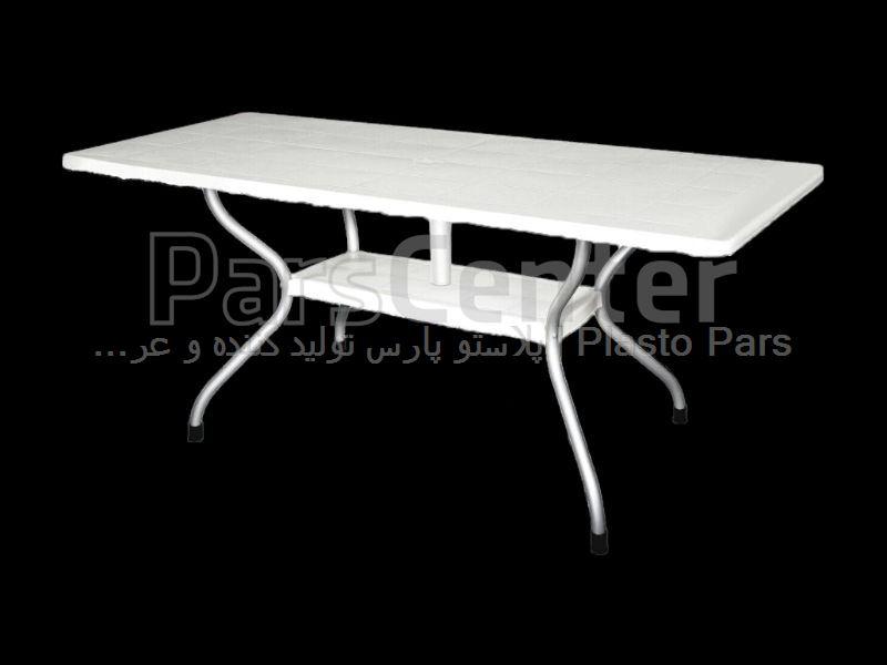 میز فایبرگلاس مستطیل پایه فلزی 8نفره 90*155کد 101920
